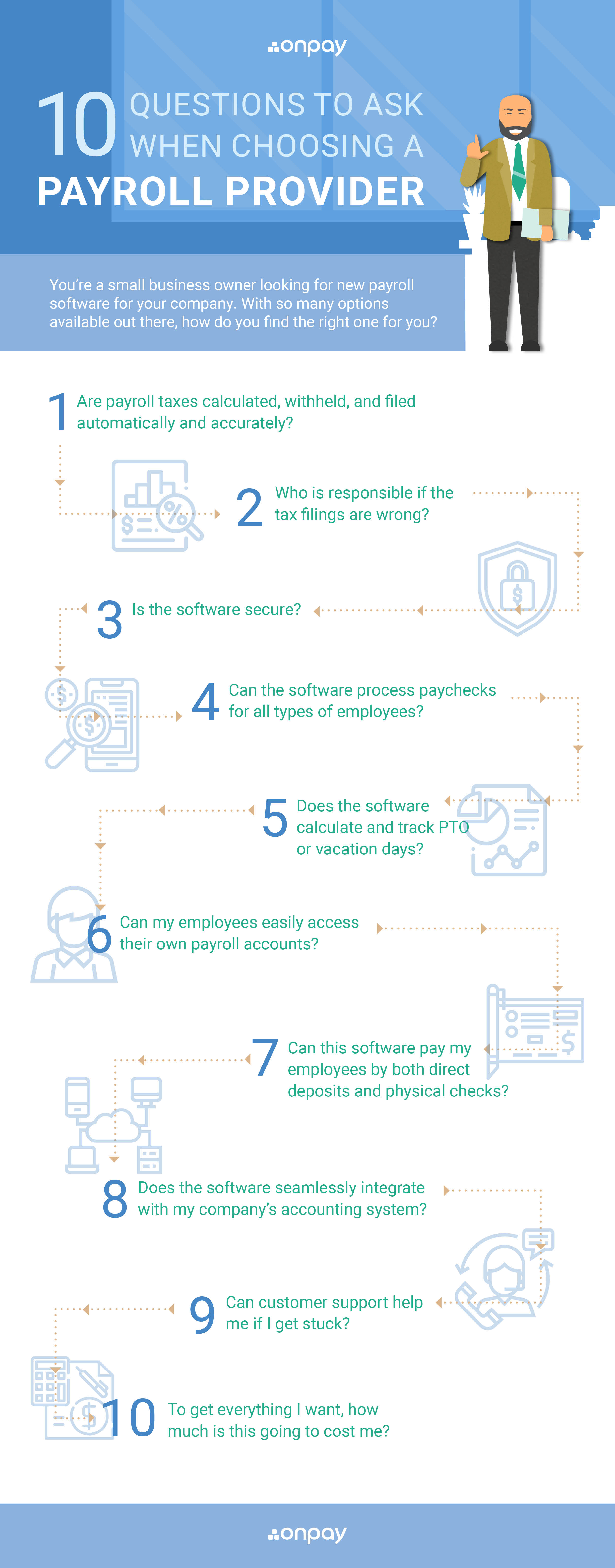 Infographic showing 10 key factors for choosing a good payroll provider.