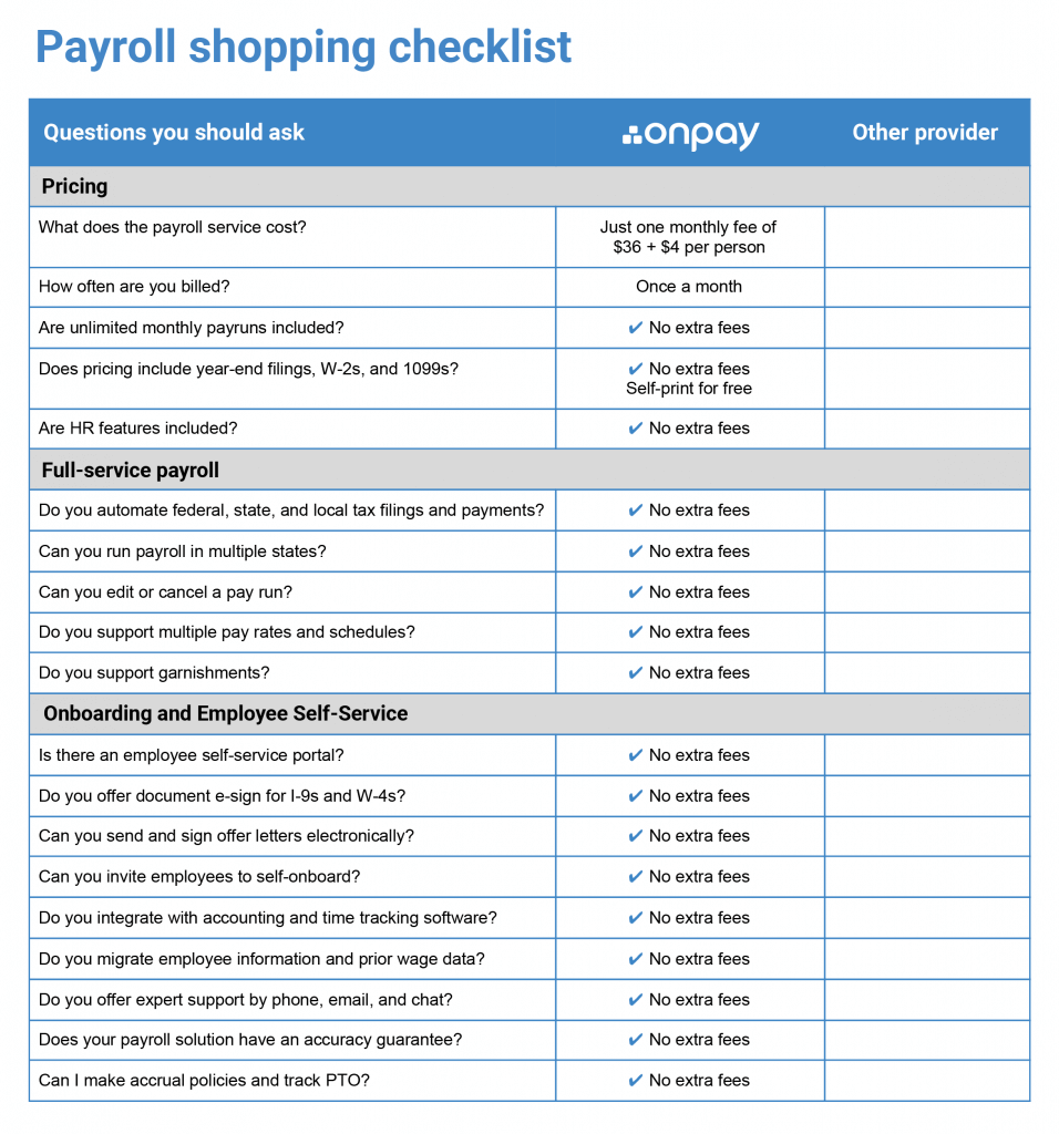 Compare payroll solutions using this simple checklist of features and pricing.